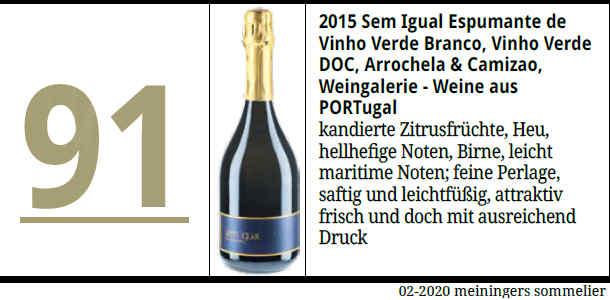 91 Punkte für Sem Igual Espumante 2015 in Meinigers Sommelier 02/2020